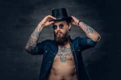 Bearded male in sunglasses and top hat. Portrait of bearded tattooed hipster male wearing a top hat over grey vignette background Stock Photography