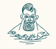 Portrait of bearded and tattooed sailor Royalty Free Stock Image