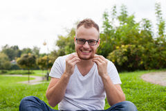 Portrait of bearded young man. Caucasian man smiling happy on su Stock Image