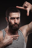 Portrait of beardy man in singlet Royalty Free Stock Photography