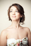 Portrait of beatiful woman looking up Royalty Free Stock Image