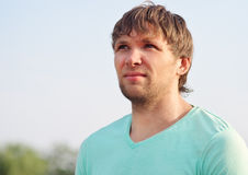 Portrait beau barbu de visage d'homme jeune Photographie stock libre de droits