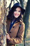 Portrait of beauitful smiling fashionable girl outdoor on sunny a Royalty Free Stock Photo