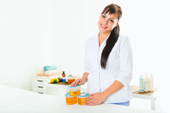 Portrait of a beautician. royalty free stock photos