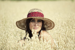 Portrait of Beautifiul Young Woman in Field Royalty Free Stock Photo