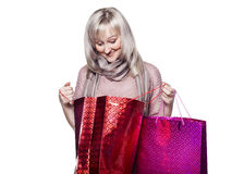Woman makes shopping Royalty Free Stock Image