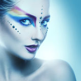 Portrait of beautiful adult woman with coloorful makeup Royalty Free Stock Photography