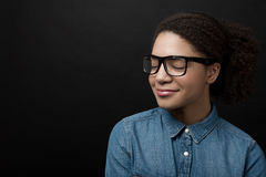 Portrait of beautiful African American woman. With glasses royalty free stock photo
