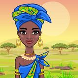 Portrait of a beautiful African girl in ancient clothes. Stock Photo
