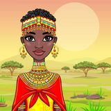 Portrait of a beautiful African girl in ancient clothes. Royalty Free Stock Images