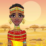 Portrait of a beautiful African girl in ancient clothes. Royalty Free Stock Photos