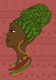 Portrait of beautiful African girl in a headscarf stock illustration