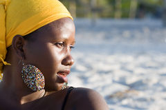 Portrait of beautiful african woman. Looking at the sea Royalty Free Stock Photography
