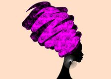 Portrait beautiful African woman in traditional turban, black women  silhouette isolated Stock Photo