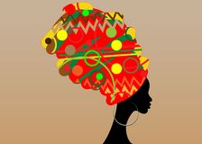 Portrait beautiful African woman in traditional turban, black women  silhouette  Stock Photography