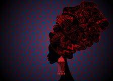 Portrait beautiful African woman in traditional turban, Kente head wrap African, Traditional dashiki printing, black Afro women. Portrait beautiful African woman Royalty Free Stock Photo