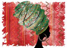 Portrait beautiful African woman in traditional turban, Kente head wrap African, Traditional dashiki printing, black afro women. Vector silhouette isolated with Royalty Free Stock Images