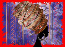 Portrait beautiful African woman in traditional turban, Kente head wrap African, Traditional dashiki printing, black afro women. Vector silhouette isolated with Stock Images