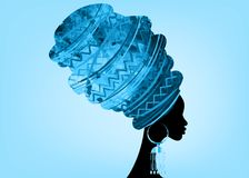 Portrait beautiful African woman in traditional turban, Kente head wrap African, Traditional dashiki printing, black afro women. Vector silhouette isolated with Royalty Free Stock Photos