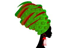 Portrait beautiful African woman in traditional turban, black women  silhouette isolated , hairstyle concept Stock Images