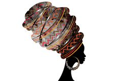 Portrait beautiful African woman in traditional turban red Kente head wrap African, Traditional dashiki printing, black afro women. Portrait beautiful African vector illustration