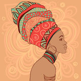 Portrait of beautiful African woman in turban Stock Image