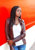 Portrait beautiful african woman wearing a leather jacket Stock Photo