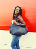 Portrait beautiful african woman wearing a leather jacket Royalty Free Stock Photos