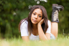 Portrait of a beautiful african young woman outdoors Stock Images