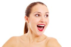 Portrait of beautiful amazed lady Stock Image