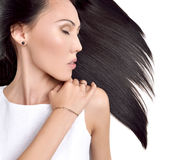 Portrait of Beautiful asian brunette girl with healthy long hair Stock Images