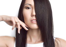 Portrait of Beautiful asian brunette girl with healthy long hair Stock Photography