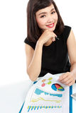Asian business woman working on her desk Royalty Free Stock Photography
