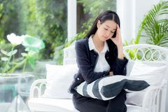 Portrait of beautiful asian businesswoman relax sitting on sofa. Portrait of woman in office Stock Photos