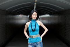 Portrait of Beautiful Asian Chinese woman. Portrait of Beautiful Asian at tunnel Stock Photo