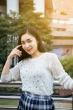 Portrait beautiful asian woman walking in the city,Happy and smiling,Female with positive attitude expressing energy in good time. Portrait beautiful asian royalty free stock photo
