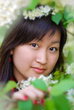 Portrait of beautiful asian girl. In green leafs royalty free stock image
