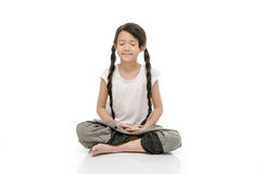Portrait of beautiful asian girl meditating Royalty Free Stock Photo