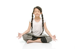 Portrait of beautiful asian girl meditating Stock Photos