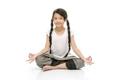 Portrait of beautiful asian girl meditating Royalty Free Stock Images
