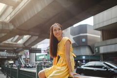 Portrait of a beautiful asian girl outdoors stock image