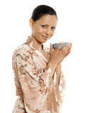 Portrait of beautiful Asian woman drinking tea Stock Photo