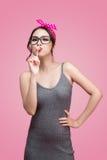 Portrait of beautiful asian woman eating heart shape lollipop, d Stock Photography