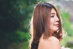 Portrait of beautiful Asian woman enjoy natural outdoor at fores Stock Photo