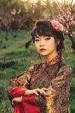 Portrait of beautiful asian woman in kimono royalty free stock photo