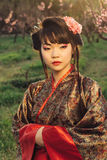 Portrait of beautiful asian woman in kimono Stock Images
