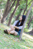 Portrait Beautiful asian woman  in Park Stock Photography