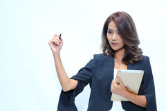 Portrait beautiful asian woman standing, Hold tablet royalty free stock photos