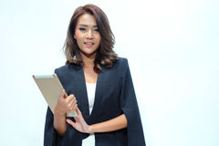Portrait beautiful asian woman standing, Hold tablet stock images