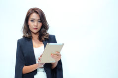 Portrait beautiful asian woman standing, Hold tablet stock photography